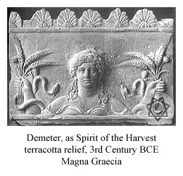 Demeter, as Spirit of the Harvest (terracotta relief, third century B.C. Magna Graecia)