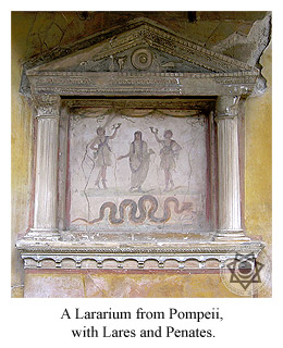 A Lararium from Pompeii, with Lares and Penates.