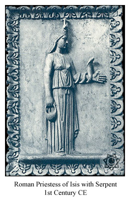 Roman Priestess with serpent.