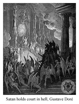 Satan holds court in hell, Gustave Dor�.
