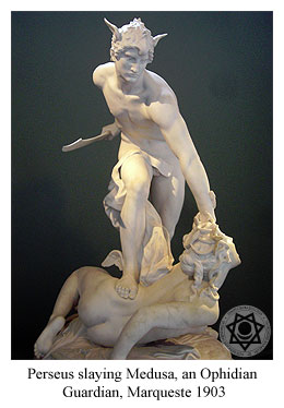 Perseus slaying Medusa, who is an Ophidian Guardian, Marqueste 1903