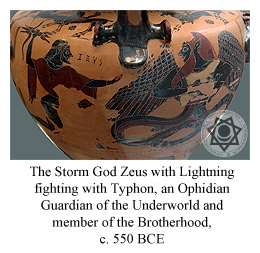 The Storm God Zeus with Lightning fighting Typhon, an Ophidian Guardian of the Underworld and member of the Brotherhood, c. 550 BCE